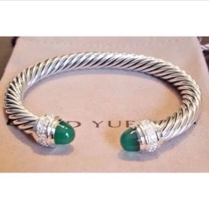 DY Green Onyx &Diamond Bangle 7mm Cable Sz Medium